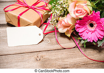 flores, etiqueta, vacío, ramo