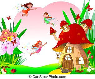 flores, fadas, pequeno, mosca, alegre, casa, cogumelo