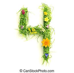 flores, feito, capim, números