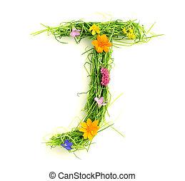 flores, feito, letras, capim