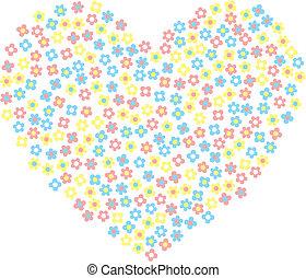 flores, feliz, coração