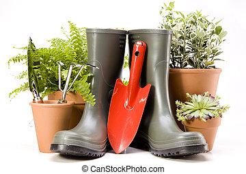 flores, ferramentas, jardim