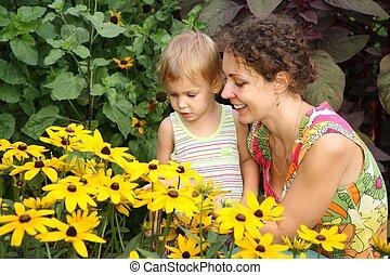 flores, filha, olhar, mãe