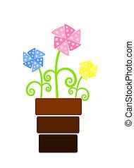 flores, flowerpot, ventilador, três, coloridos