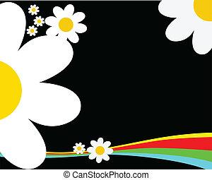 flores, fondo negro