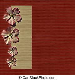 flores, fondo rojo, crema