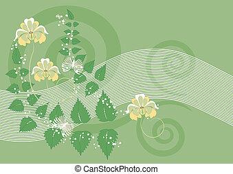 flores, fondo verde
