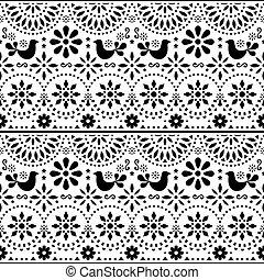 flores, forma arte, méxico, padrão, inspirado, fiesta, seamless, mexicano, tradicional, vetorial, desenho, pretas, branca, pássaros, povo