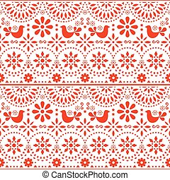flores, forma arte, méxico, padrão, inspirado, fiesta, seamless, tradicional, vetorial, desenho, povo, mexicano, pássaros, vermelho