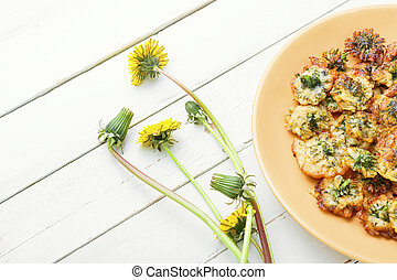 flores, fritado, dandelion