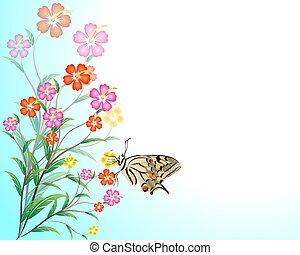 flores, fundo, abstratos
