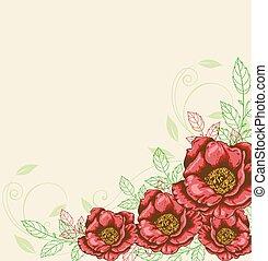 flores, fundo, vermelho