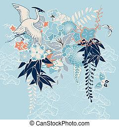 flores, grúa, kimono, motivo, japonés