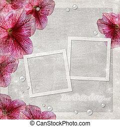 flores, grunge, plano de fondo, con, dos, marcos