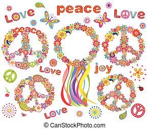 flores, guirnalda, hippie