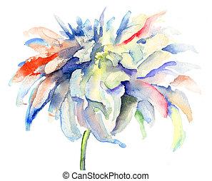 flores, hermoso, acuarela, ilustración