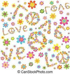 flores, hippie, papel pintado