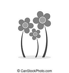 flores, icon., símbolo, em, trendy, apartamento, estilo, isolado, branco, experiência.