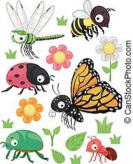 flores, ilustración, elementos, insectos