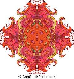 flores, isolado, experiência., vetorial, il, branca, mandala, vermelho
