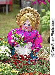 flores, jardín, muñeca