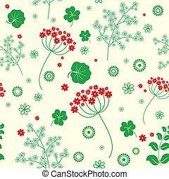 flores, jardín, seamless, fondo.