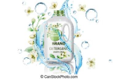 flores, jerrycan, fluir, water., burbujas, detergente, limpio, 3d, colocación, concentrado, producto, power., realista, rodeado, mockup