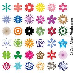flores, jogo, coloridos, vetorial