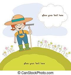 flores, joven, jardinero, cuidados