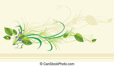 flores, ladybird., cartão