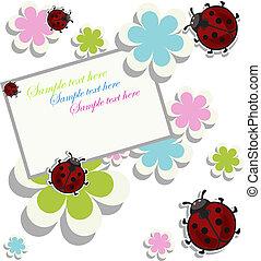 flores, ladybugs, cartão