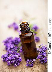 flores, lavanda, aceite esencial
