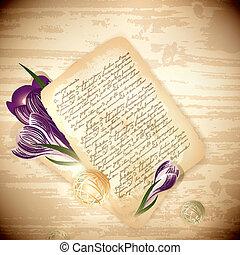 flores, letra velha, açafrão