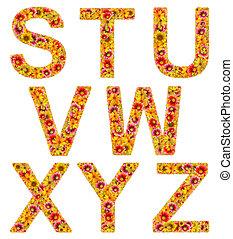 flores, letras, s-z