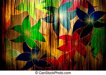 flores, ligado, cortina