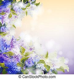 flores, lilás, fundo