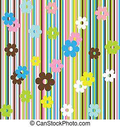 flores, listras, fundo, multicolored