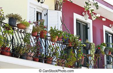 flores, lleno, balcón