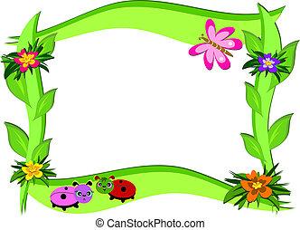 flores, marco, grueso, bichos