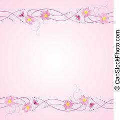 flores, mariposas, plano de fondo, magenta, flores, frontera