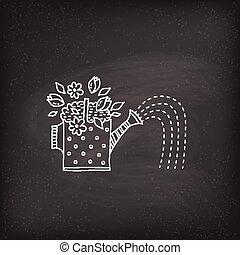 flores molhando, lata