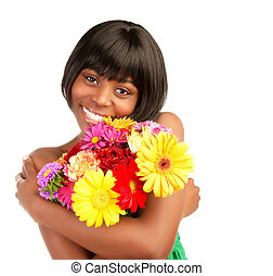 flores, mulher, africano