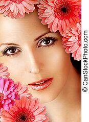 flores, mulher, bonito, gerbera