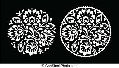 flores, negro, gente, bordado