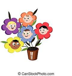 flores, niños