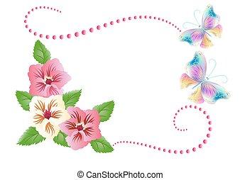 flores, ornamento, con, mariposas