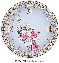 flores, ornamento, rosto relógio