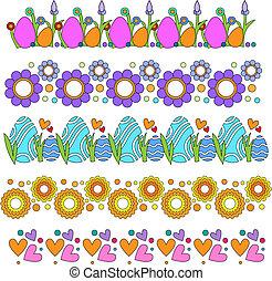 flores, ovos, fronteiras, corações, vetorial