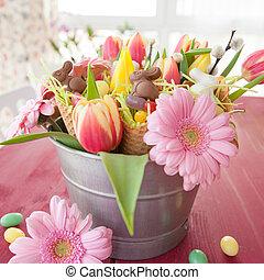 flores, páscoa, coloridos