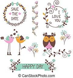 flores, Pássaros, ícones